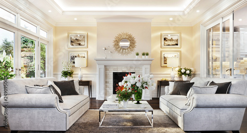 Fototapeta Living room with fireplace in luxury home obraz