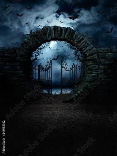 Leinwand Poster scary gate