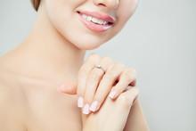 Diamond Ring On Female Hand. Jewelry Model Closeup