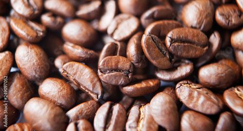 Deurstickers koffiebar grain de café en gros plan