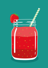 Red Layered Berry Juice Smoothie In Mason Jar With Strawberry And Swirled Straw Isolated On Background. Fresh Natural Healthy Fruit And Berry Drink. Vector Hand Drawn Illustration Eps10.
