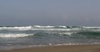 Mediterranean sea Israeli beach and skyline