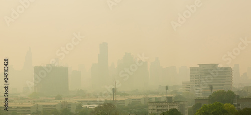 Fototapety, obrazy: Office building under smog in Bangkok