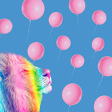 art collage animal, lion king, rainbow pastel colors, social mood vibes - 249104043
