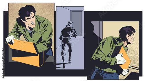 Obraz na płótnie Robber with mysterious suitcase. Stock illustration.