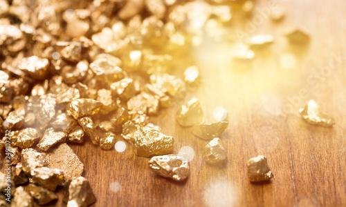 Gold nuggets on background. closeup Tapéta, Fotótapéta