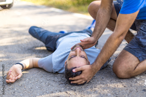 First aid doing CPR