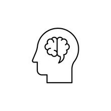 Brain, Head, Interface Icon. Element Of Human Resources For Mobile Concept And Web Apps Illustration. Thin Line Icon For Website Design And Development, App Development