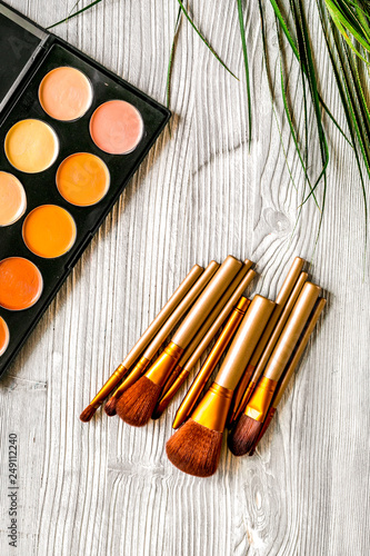 Fotografie, Obraz  set of decorative cosmetics on gray table background top view mockup