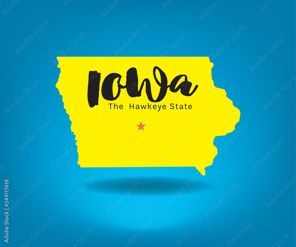 Photo  Iowa map with nickname The Hawkeye State, Vector EPS 10.