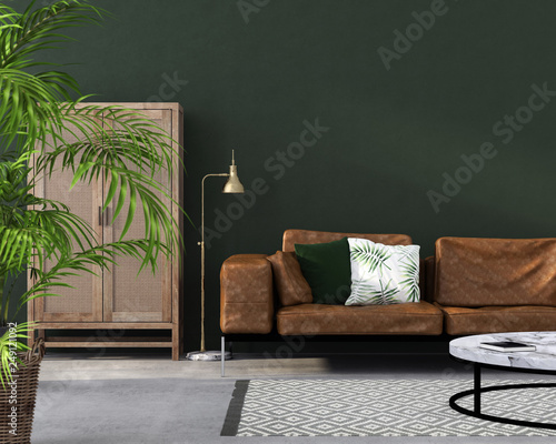 living room with brown leather sofa – kaufen Sie diese ...