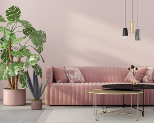 living room in pink with velvet sofa