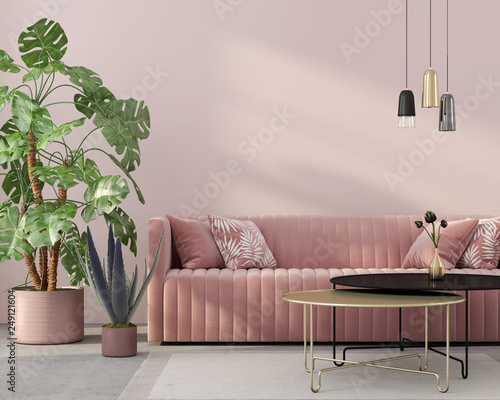 Fototapeta living room in pink with velvet sofa obraz