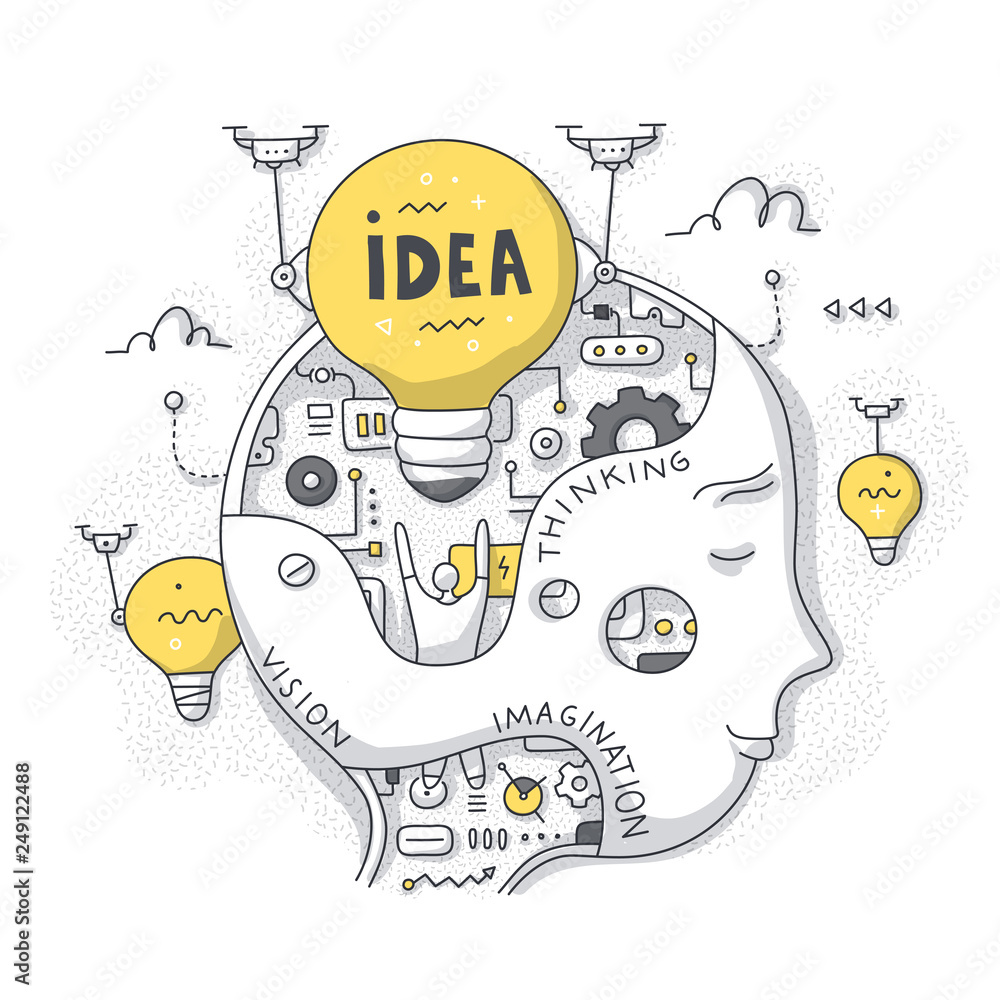 Fototapeta Idea & Thinking Process Doodle Concept