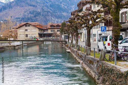 Aare river in Interlaken, Switzerland Canvas