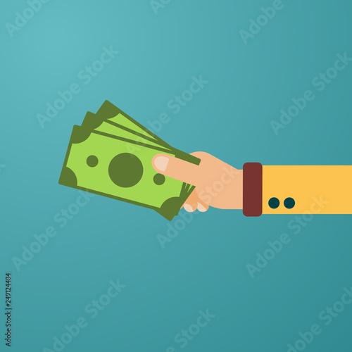 Fotografía  Hand hold cash money, financial bills
