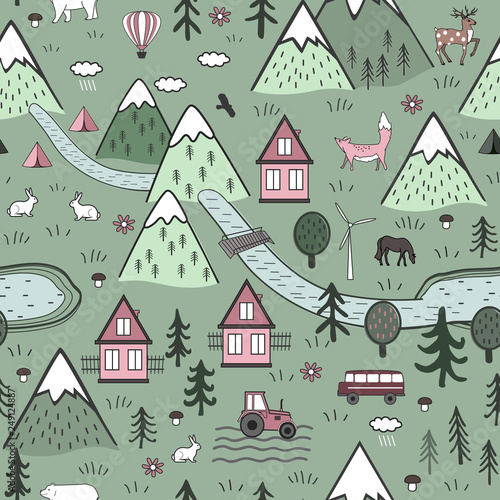 cute-hand-drawn-scandinavian-vector-seamless-pattern-with-houses-animals-trees-old-castle-and-mountains-nordic-nature-landscape-concept-perfect-for-kids-fabric-textile-wallpaper-or-door-mat