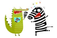 Fun Crocodile Eating Zebra Cartoon