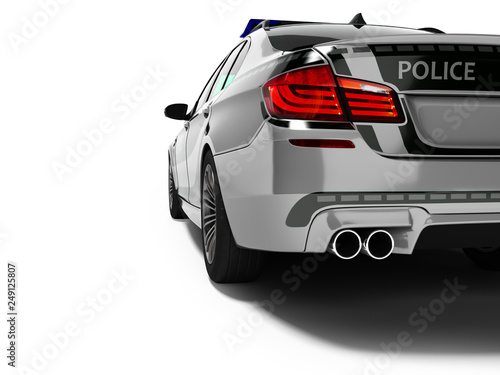 Fotografía  Police car sedan gray with green inserts rear view 3d render on white background