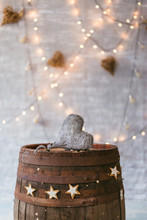 Old Wooden Barrel With Vintage Decoration And A Heart