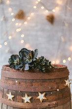 Old Wooden Barrel With Flower Crown And Vintage Decoration