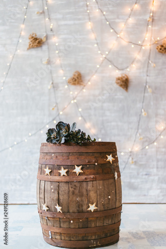 old wooden barrel with flower crown and vintage decoration Wallpaper Mural