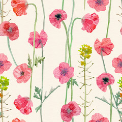 Fototapeta Vintage graceful seamless texture with blossom of poppies. watercolor painting