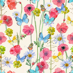 Naklejkalovely seamless texture with blossom of poppies and butterflies. watercolor painting