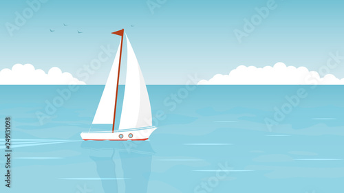 Fotografia  Sailboat in the open sea on the background of clouds and seagulls