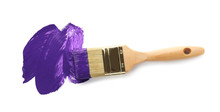 Brush With Purple Paint On White Background, Top View