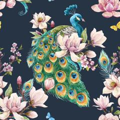 Panel Szklany Podświetlane Do pokoju Watercolor peacock pattern