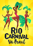 Brazilian samba posters. Carnival in Rio de Janeiro dancers wearing a festival costume is dancing. Vector illustration.
