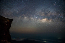 """Clear And Pastel Milky Way At The """"Phu Chi Fa"""" (Mountain) Chiang Rai Province, North Of Thailand."""