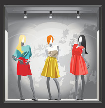 Female Mannequins In Bright Summer Clothes.