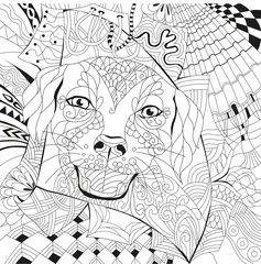 Dog zentangle styled with clean lines for coloring book for anti stress, T - shirt design, tattoo and other decorations