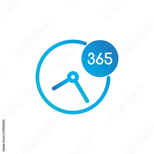 Fotografija  Business Clock Icon 365 Days - Standard label for Customer Service, Support, Call Center