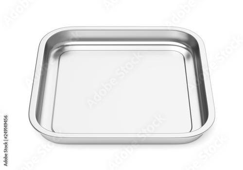 Photo Square steel baking or food tray isolated on white