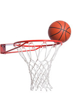 Basketball On A Rim With Net I...