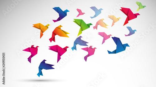 Fotografija ptaki origami wektor
