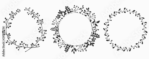 Hand drawn set of floral vector wreath Canvas-taulu