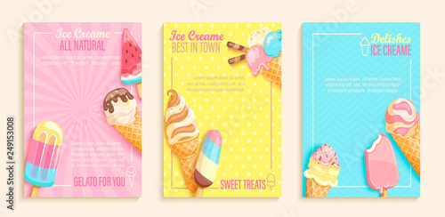 Valokuva Set of sweet ice cream shops flyers,banners on vintage background