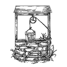 Old Well With Wooden Bucket. Sketch. Engraving Style. Vector Illustration.