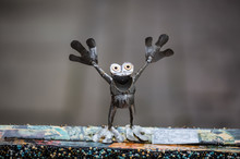 Frog Figurine Of Steel, Metal ...