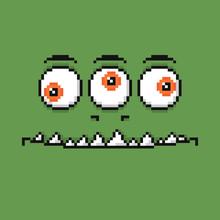 Cartoon Smiling Monster Face. Halloween Green Monster Character In Pixel Art Style.