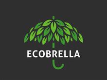 Leaf Umbrella. Abstract Logo Vector Template.