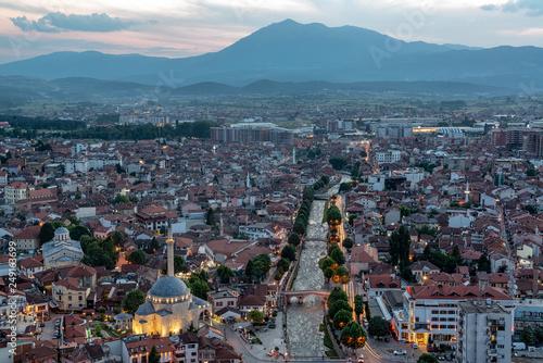Fotografie, Obraz  Beautiful Prizren, Kosovo Cityscape after Sunset