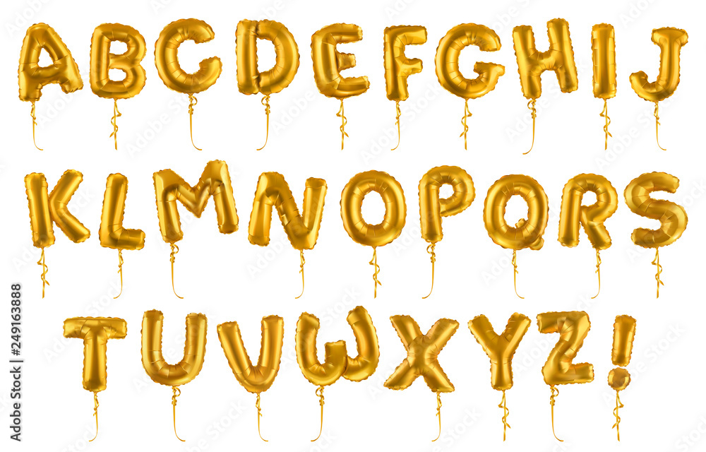 Fototapeta Golden inflatable toy balloons font. 3d vector realistic set. Letters from A to Z