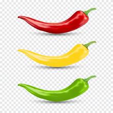 Chili Pepper Set. Realistic Vector Illustration.
