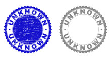 Grunge UNKNOWN Stamp Seals Isolated On A White Background. Rosette Seals With Grunge Texture In Blue And Grey Colors. Vector Rubber Overlay Of UNKNOWN Text Inside Round Rosette.