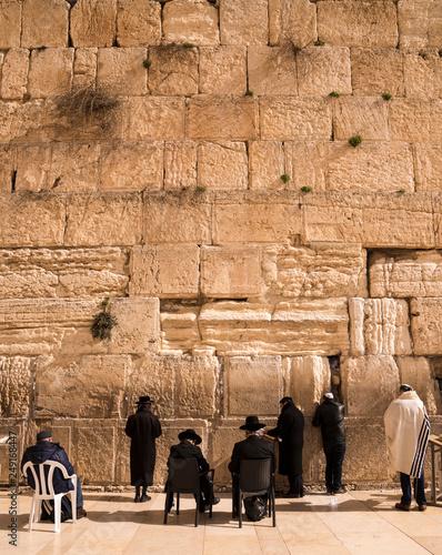 Pilgrims visiting the Wailing Wall in Jerusalem, Israel, Middle East Fototapete